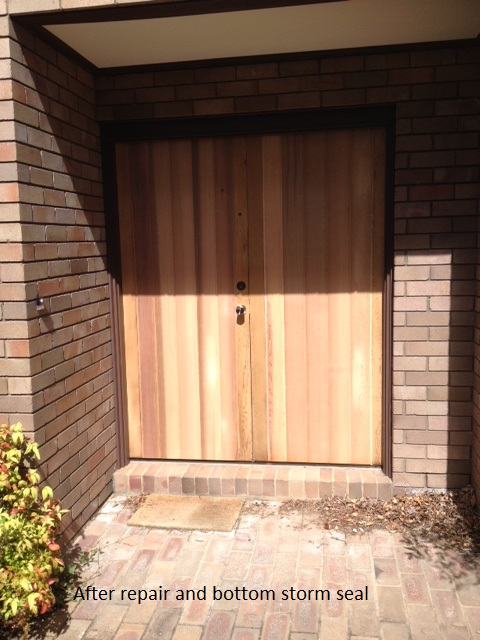 Timber door after repair